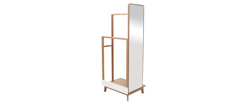 Appendiabiti con specchio in legno chiaro e bianco TAYA