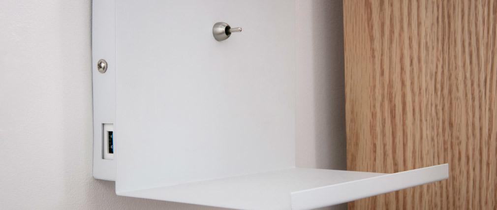 Applique da parete design con presa USB in metallo Bianco PLUG