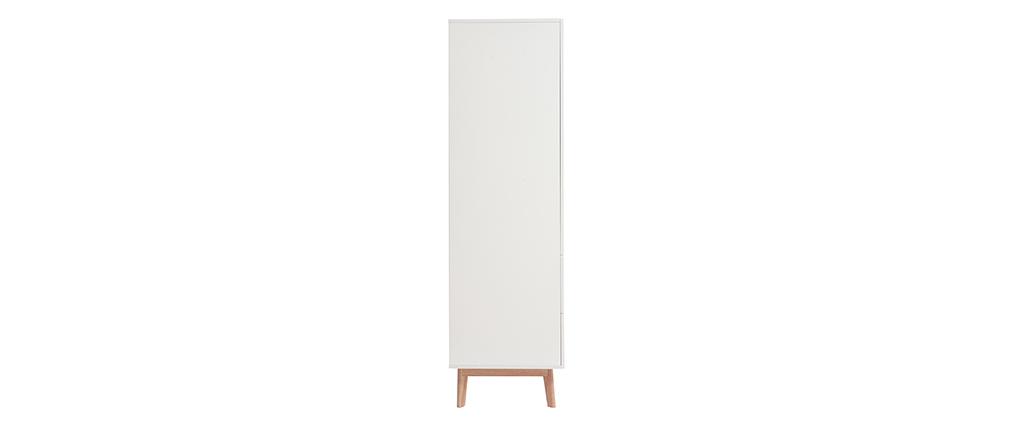 Armadio guardaroba scandinavo bianco e legno chiaro KELMA