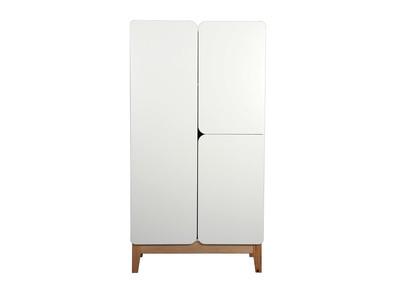 Armadio scandinavo, colore: Bianco e legno, modello: KUNG