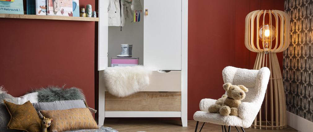 Armadio scandinavo con appendiabiti e cassettiera in legno bianco MOLENE