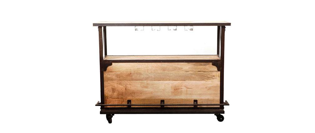 Bar design industriale legno massiccio INDUSTRIA