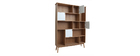 Biblioteca design con porte bianche e quercia INGRID