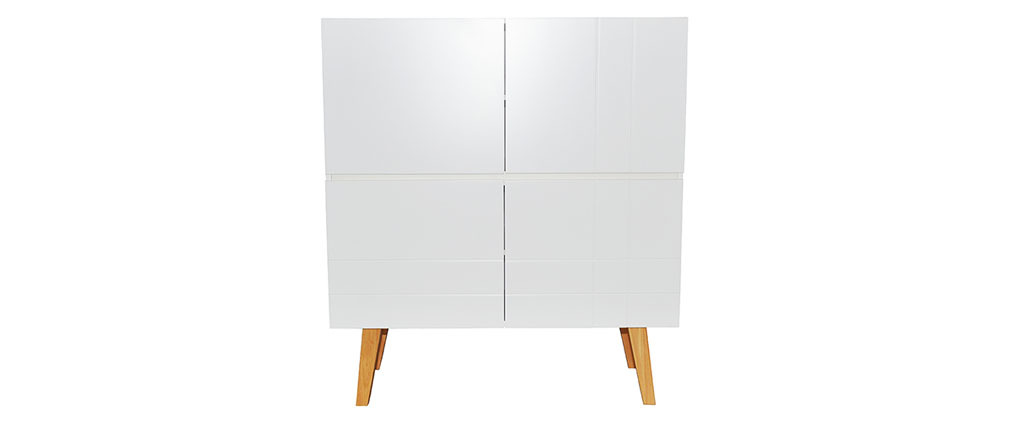 Buffet alto design laccato bianco opaco e legno ADORNA