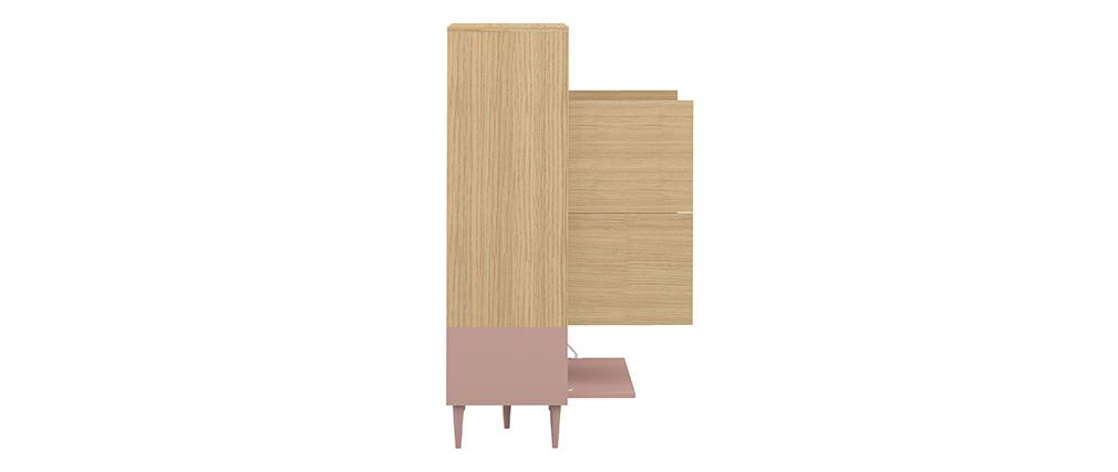 Buffet alto scandinavo rosa e legno STRIPE