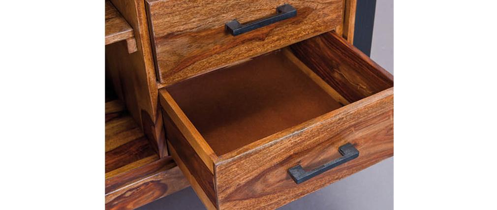 Buffet design 120x130 metallo e legno di sheesham CARVED