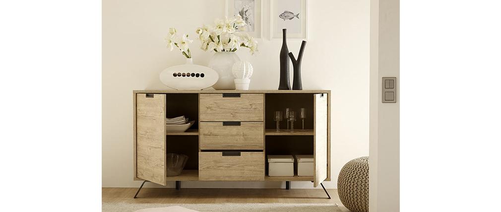 Buffet design 2 ante 3 cassetti quercia ORIGIN
