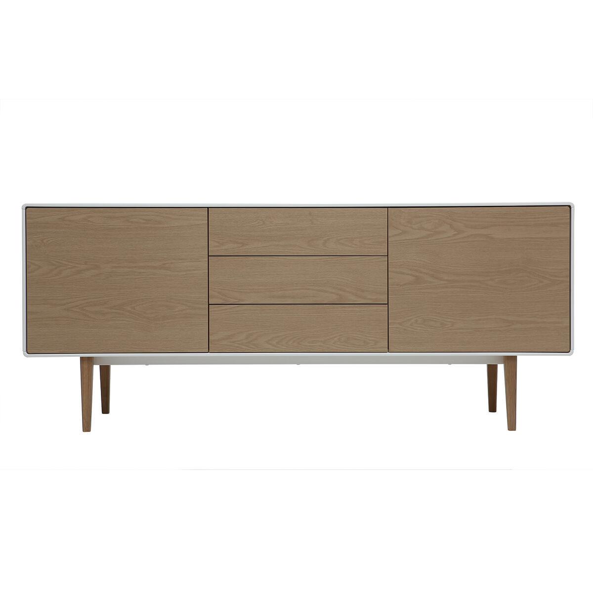 Buffet design contemporaneo bianco e legno ROMY