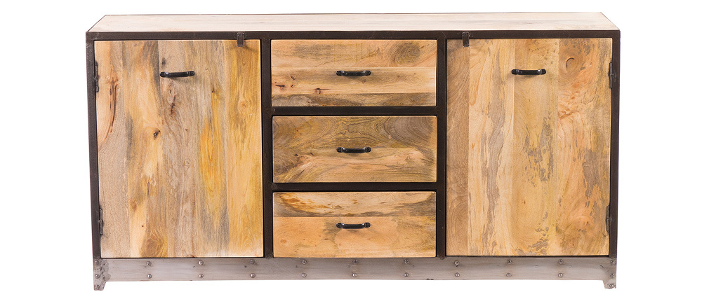 Buffet design industriale 160 cm legno massiccio INDUSTRIA