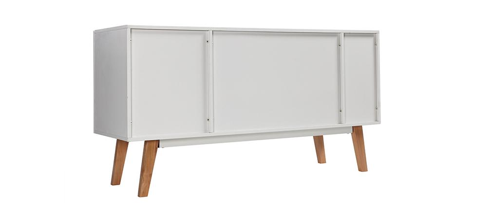Buffet design laccato bianco opaco e legno ADORNA
