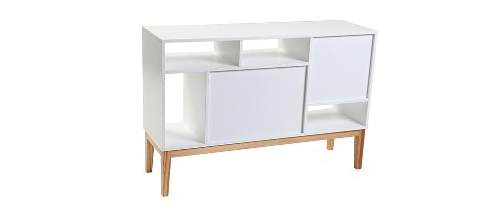 Buffet design laccato bianco opaco e legno SKAL