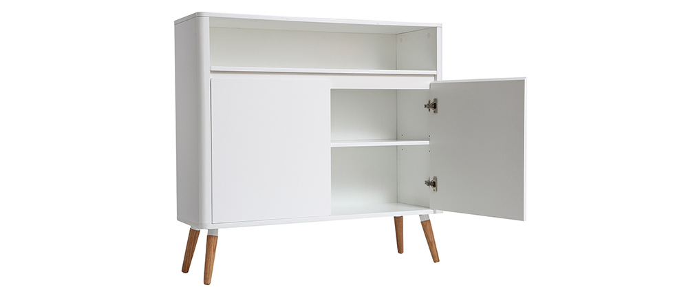 Buffet design scandinavo bianco e legno TOTEM