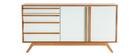 Buffet legno naturale e bianco 2 ante 4 cassetti HELIA