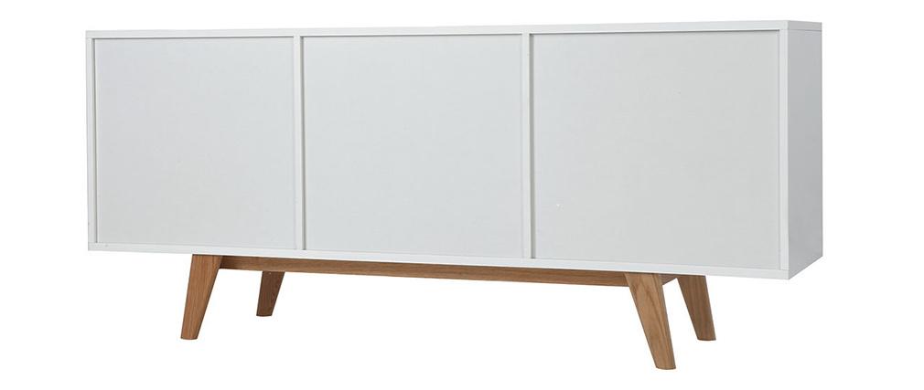 Buffet scandinavo bianco lucido e frassino 160cm MELKA