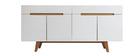 Buffet scandinavo bianco lucido e frassino 180cm MELKA
