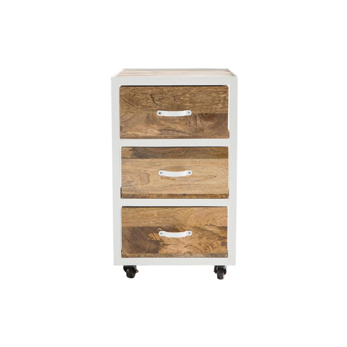 Cassettiera da scrivania design industriale in mango e metallo Bianco PUKKA