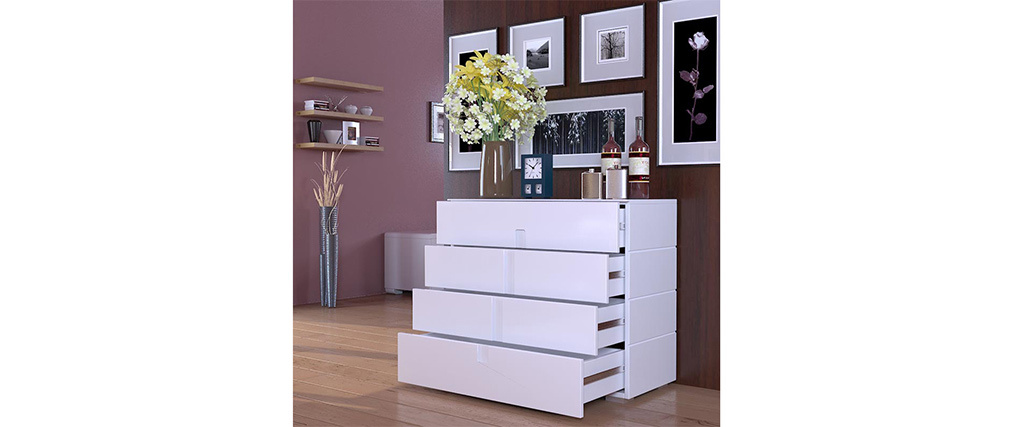 Cassettiera design laccata bianco 4 cassetti TED