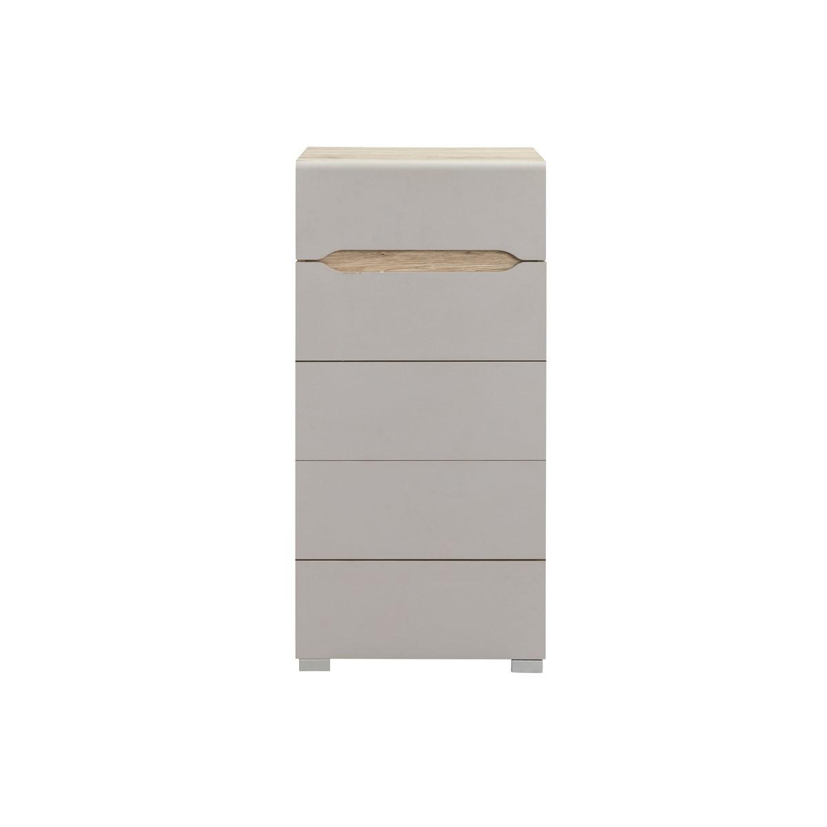 Cassettiera design legno chiaro e talpa 5 cassetti WILLY