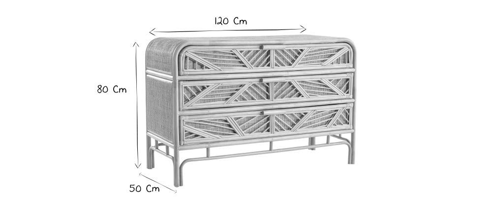 Cassettiera in rattan 3 cassetti GALON