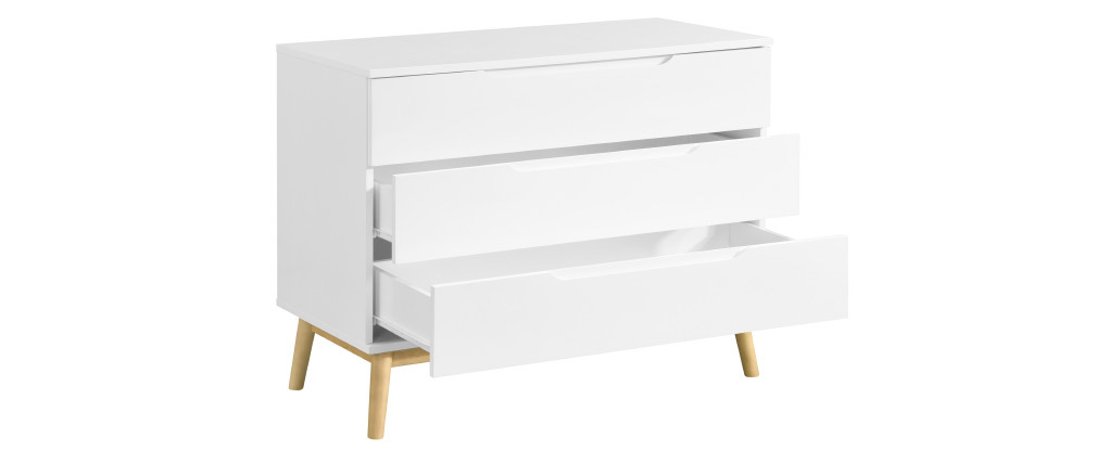 Cassettiera scandinava a 3 cassetti bianca e legno FELIX