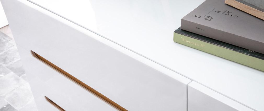 Cassettiera scandinavo bianco lucido e frassino 6 cassetti MELKA
