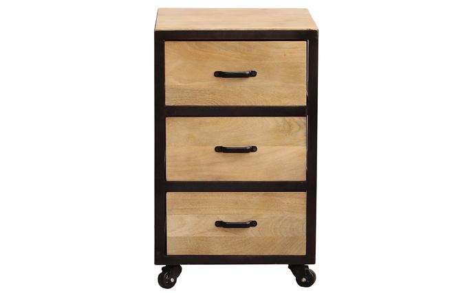 Cassettiera Ufficio Legno Massello : Cassettiera scrivania industriale legno massiccio industria miliboo