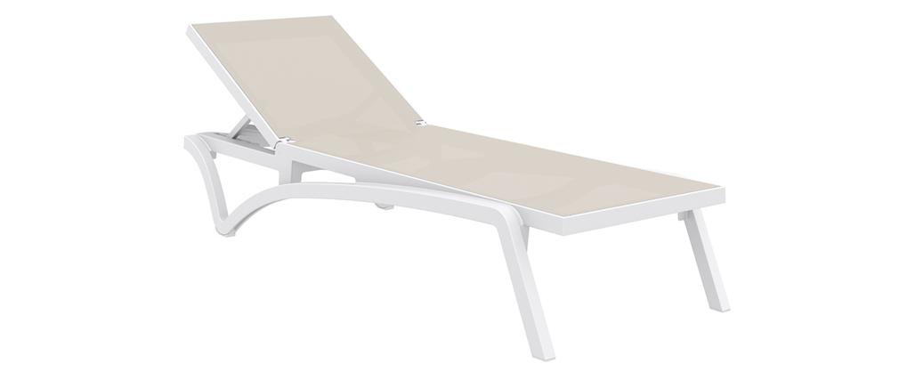 Chaise longue bianco e talpa CORAIL