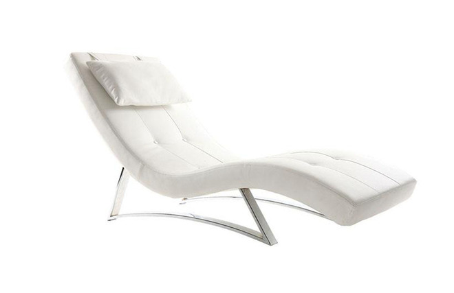 Chaise longue design bianco MONACO - Miliboo