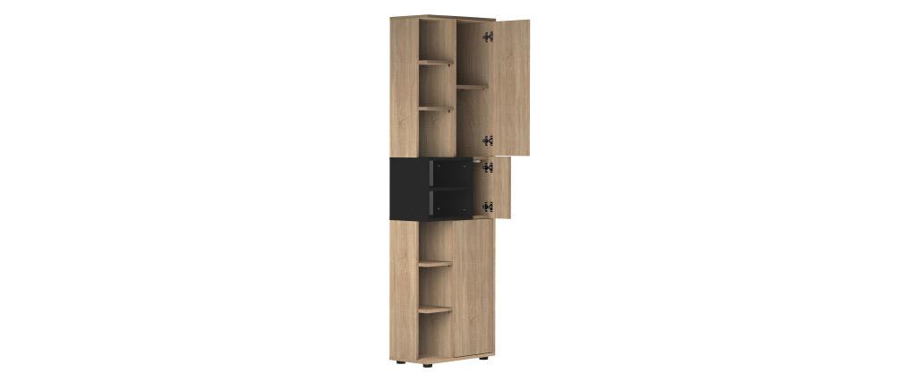 Colonna contenitore di design nera e legno STELE