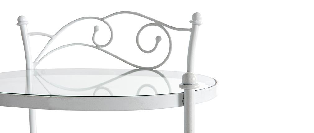 Comodino barocco bianco in metallo VENEZIA