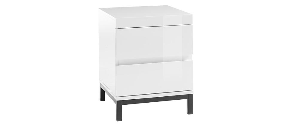 Comodino di design con 2 cassetti laccati bianchi KOLL