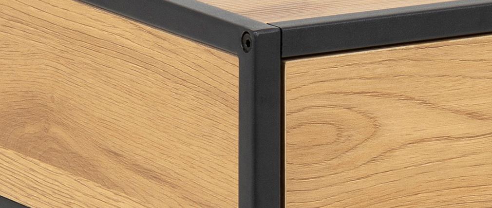 Comodino industriale legno e metallo nero TRESCA