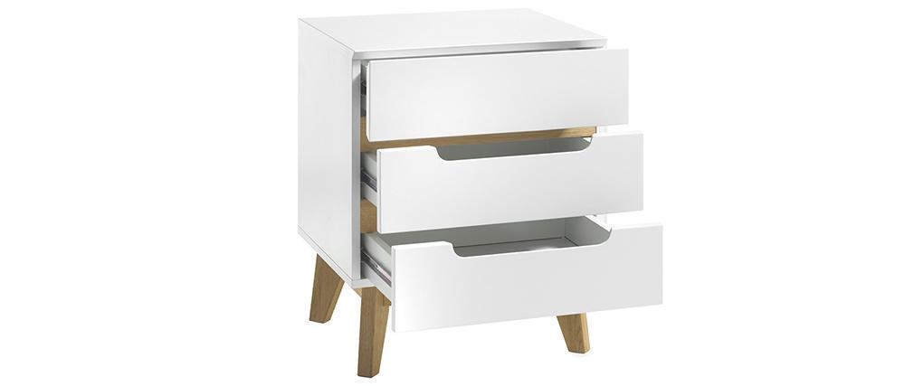 Comodino scandinavo 3 cassetti bianco opaco e legno SKIVE