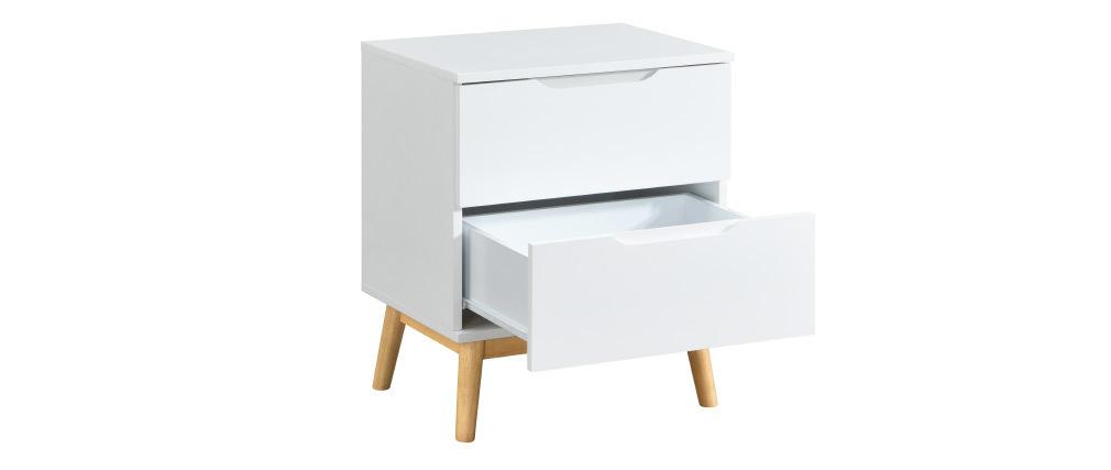 Comodino scandinavo a 2 cassetti bianco e legno FELIX