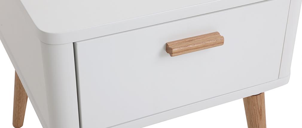 Comodino scandinavo bianco e legno TOTEM