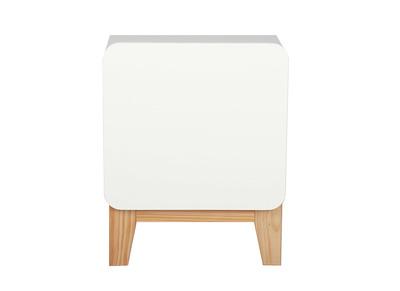 Comodino scandinavo, colore: Bianco e legno, modello: KUNG