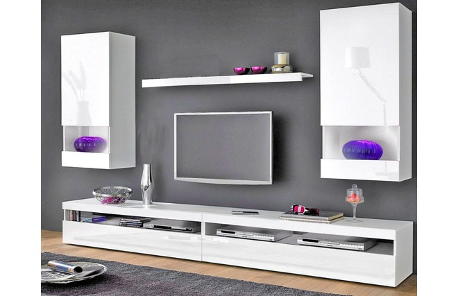 composizione murale tv design laccata bianca casey miliboo. Black Bedroom Furniture Sets. Home Design Ideas