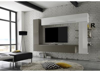 Compsizione murale TV  design bianco e talpa  ANTHON