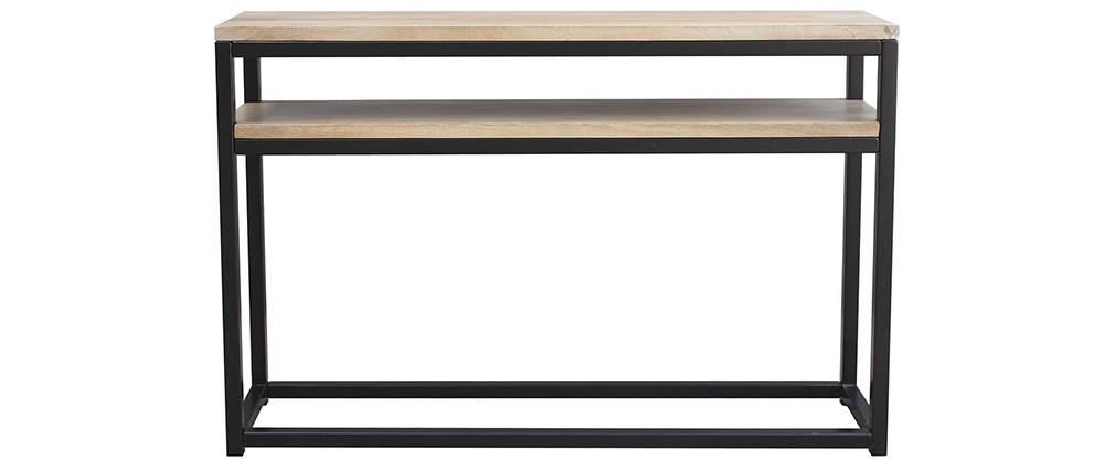 Console con mensola in mango e metallo nero 120 cm FACTORY
