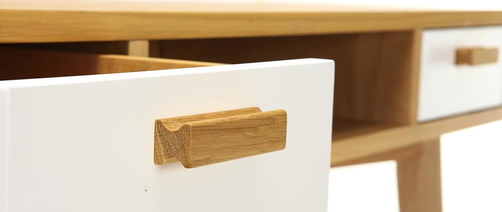 Console design scandinavo bianco e quercia HELIA