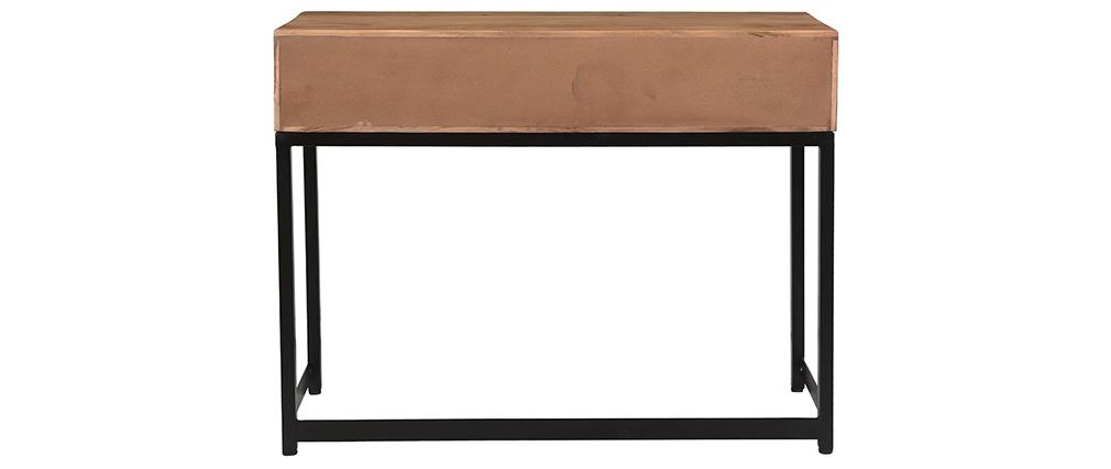 Console in acacia nera e metallo 2 cassetti STICK