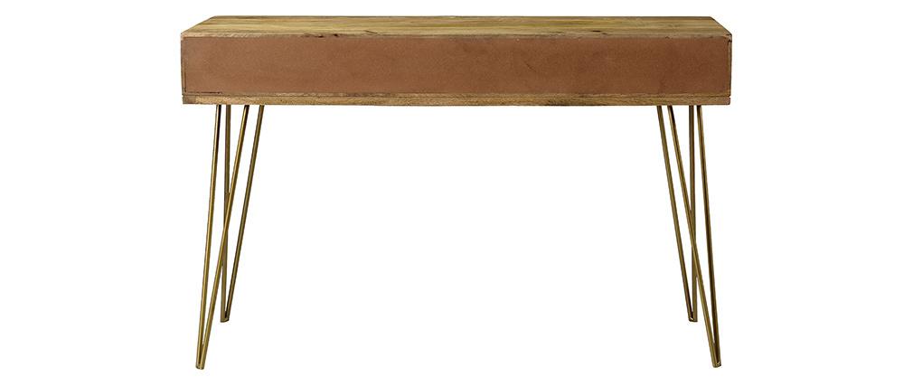 Console incisa in mango e metallo dorato LINIUM