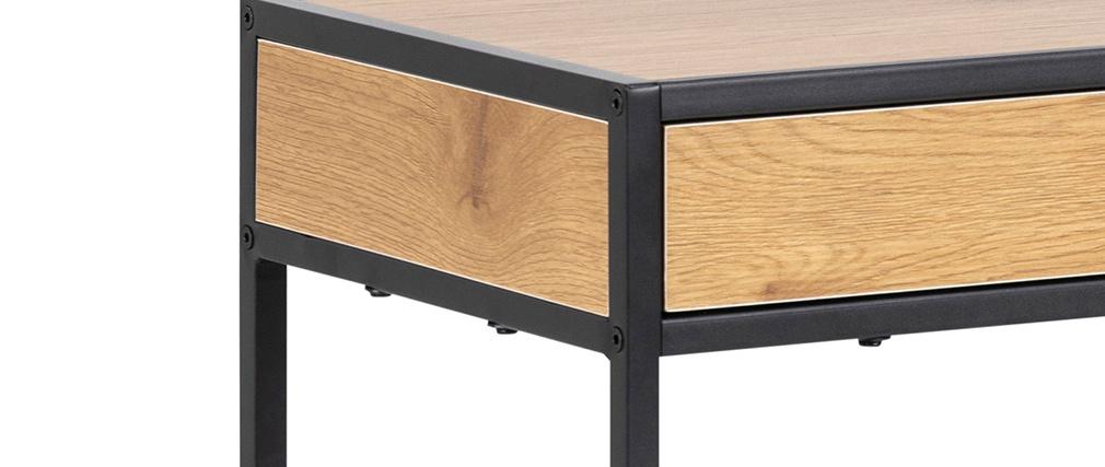 Console industriale 2 cassetti in metallo e legno L100 cm TRESCA