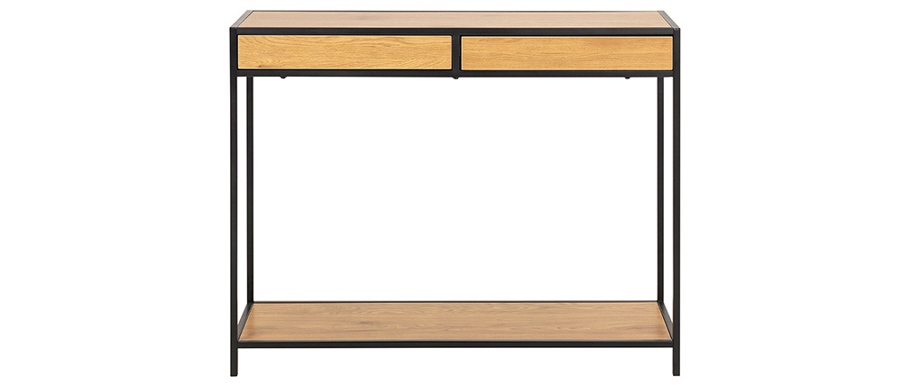 Console industriale 2 cassetti in metallo e legno TRESCA
