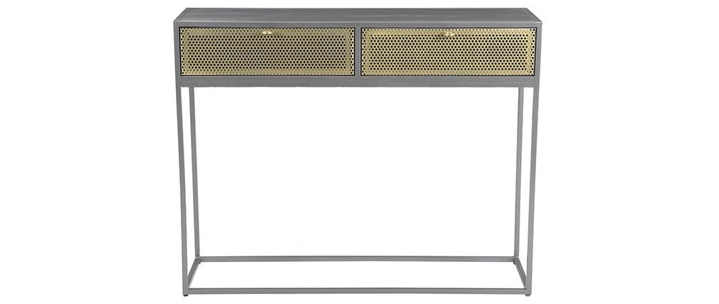 Console industriale in metallo dorato e grigio MAGIC