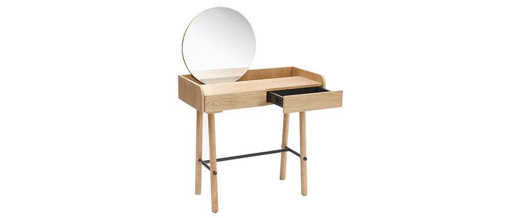 Console scandi-giapponese con specchio quercia chiaro JAPANSK