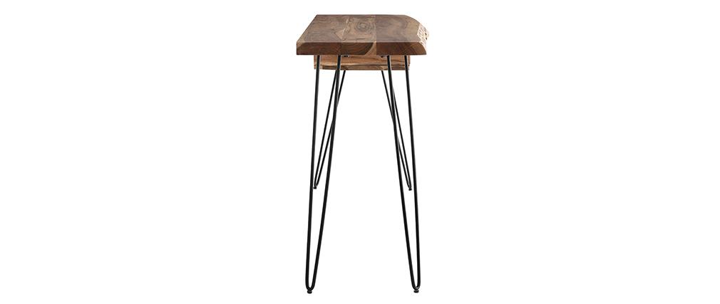 Console scrivania in acacia et metallo nero L120 cm PINA