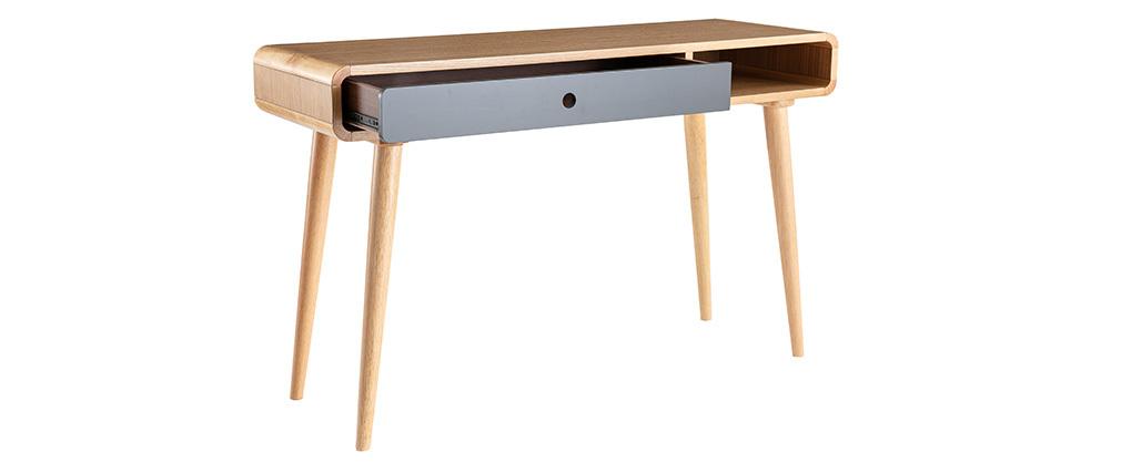 Console-scrivania scandinava rovere chiaro e grigio L120 cm COPENHAGUE