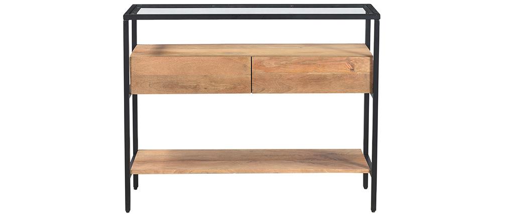 Consolle con piano in vetro e cassetti in legno massello di mango L100 cm SITA