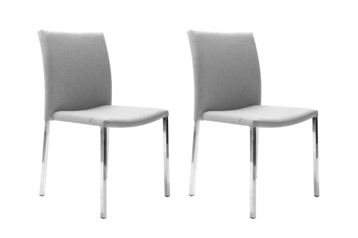 Coppia di 2 sedie design grigio chiaro jina miliboo for Sedie design grigie
